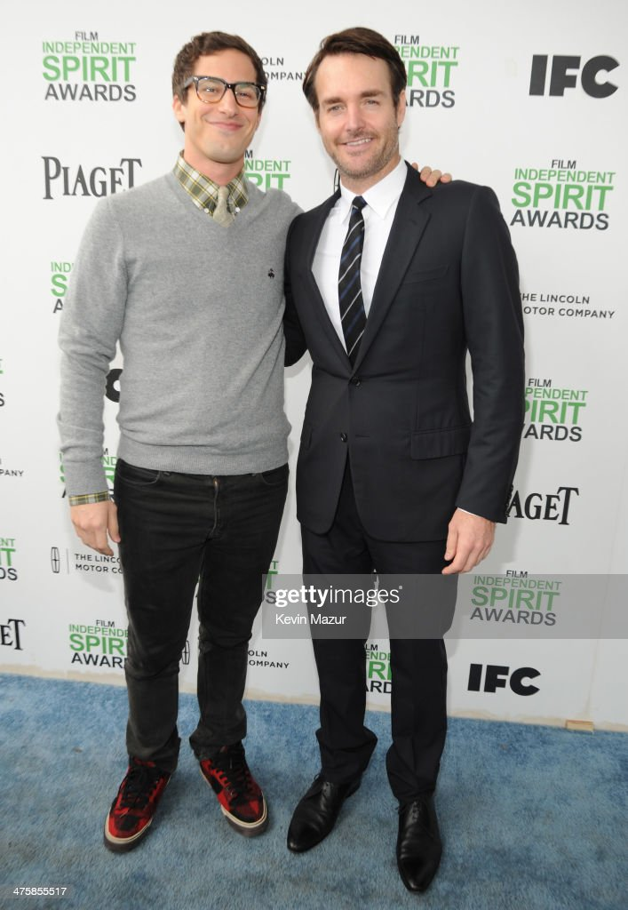 Andy Samberg and Will Forte attend the 2014 Film Independent Spirit Awards at Santa Monica Beach on March 1, 2014 in Santa Monica, California.
