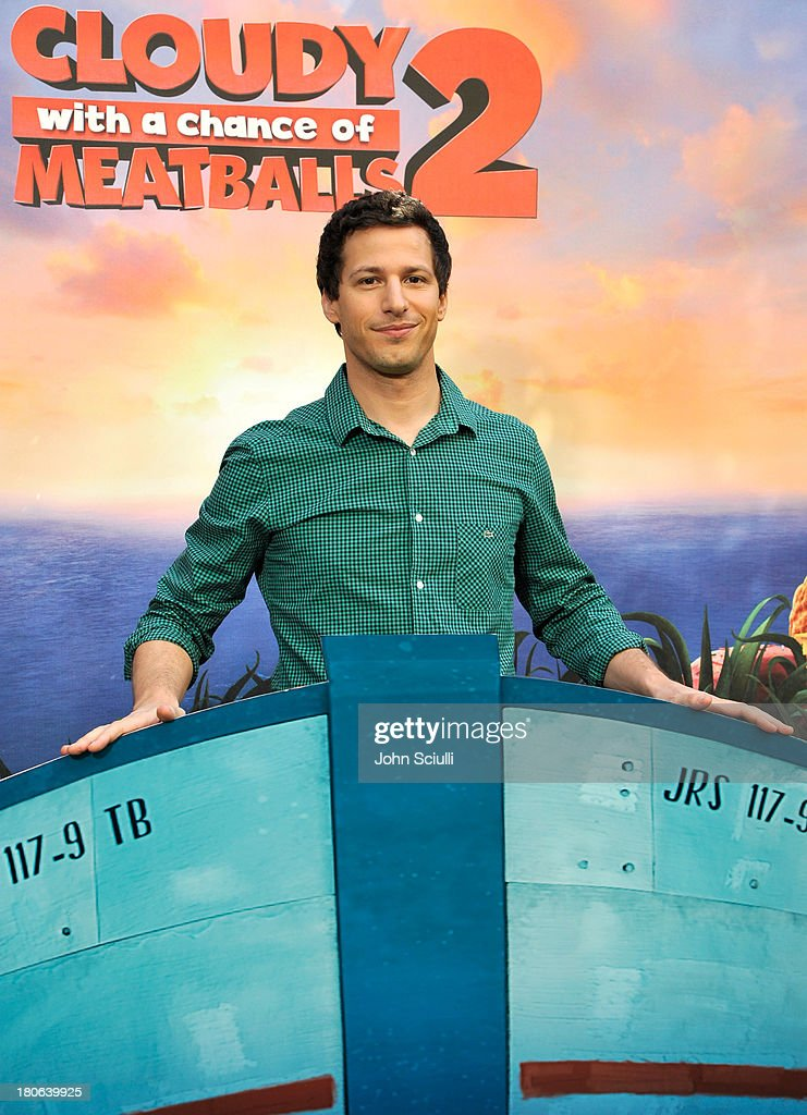 <a gi-track='captionPersonalityLinkClicked' href=/galleries/search?phrase=Andy+Samberg&family=editorial&specificpeople=595651 ng-click='$event.stopPropagation()'>Andy Samberg</a> attends Cloudy 2 junket photo call at the Four Seasons Hotel Los Angeles on September 15, 2013 in Los Angeles, California.