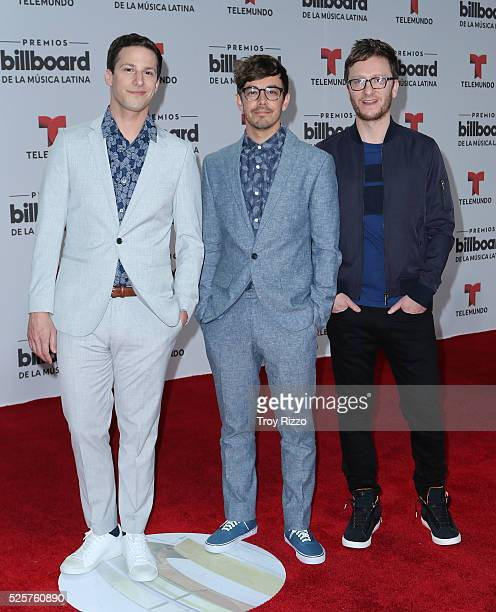 Andy Samberg Jorma Taccone and Akiva Schaffer are seen arriving to the Billboard Latin Music Awards at the Bank United Center on April 28 2016 in...