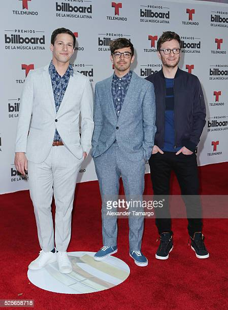 Andy Samberg Jorma Taccone and Akiva Schaffer attend the Billboard Latin Music Awards at Bank United Center on April 28 2016 in Miami Florida