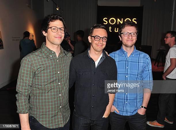 Andy Samberg Jorma Taccone and Akiva Schaffer of The Lonely Island attend The Lonely Island 'The Wack Album' release party at Sonos Studio on June 6...
