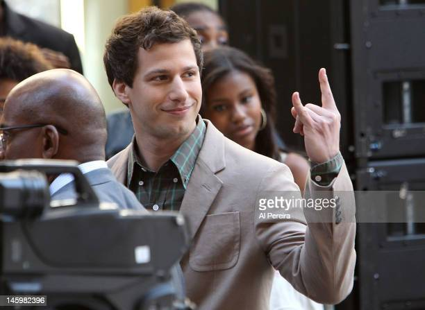 Andy Samberg visits when Chris Brown performs on NBC's 'Today' at Rockefeller Plaza on June 8 2012 in New York City