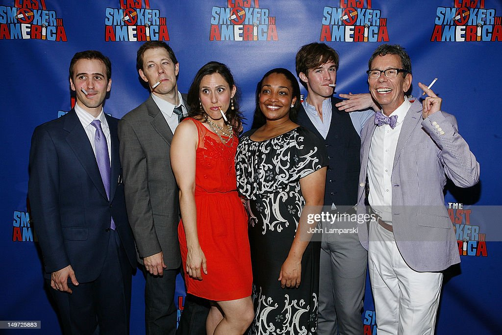 Andy Sandberg, John Bolton, farah Alvin, Natalie Venetia Belcon, Jake Boyd and Bill Russell attend 'The Last Smoker In America' Hosts 'Smoke-in/Smoke-Out' at The Westside Theatre on August 2, 2012 in New York City.