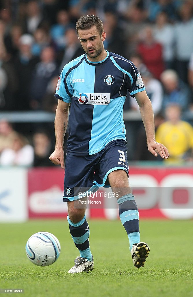 Andy Sandell of Wycombe Wanderers in action during the npower League Two League match between Wycombe Wanderers and Northampton Town at Adams Parks on April 16, 2011 in Wycombe, England.
