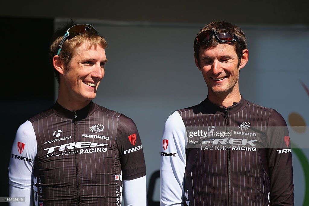 <a gi-track='captionPersonalityLinkClicked' href=/galleries/search?phrase=Andy+Schleck&family=editorial&specificpeople=768445 ng-click='$event.stopPropagation()'>Andy Schleck</a> (L) and Frank Schleck of Luxembourg and Trek Factory Racing look on at the start of the 78th edition of the La Fleche Wallonne on April 23, 2014 in Bastogne, Belgium. The 199km parcours scales the Mur de Huy climb three times, with the final 9.3% average ascent providing the finish to the race.