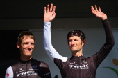 Andy Schleck and Frank Schleck of Luxembourg and Trek Factory Racing look on at the start of the 78th edition of the La Fleche Wallonne on April 23...