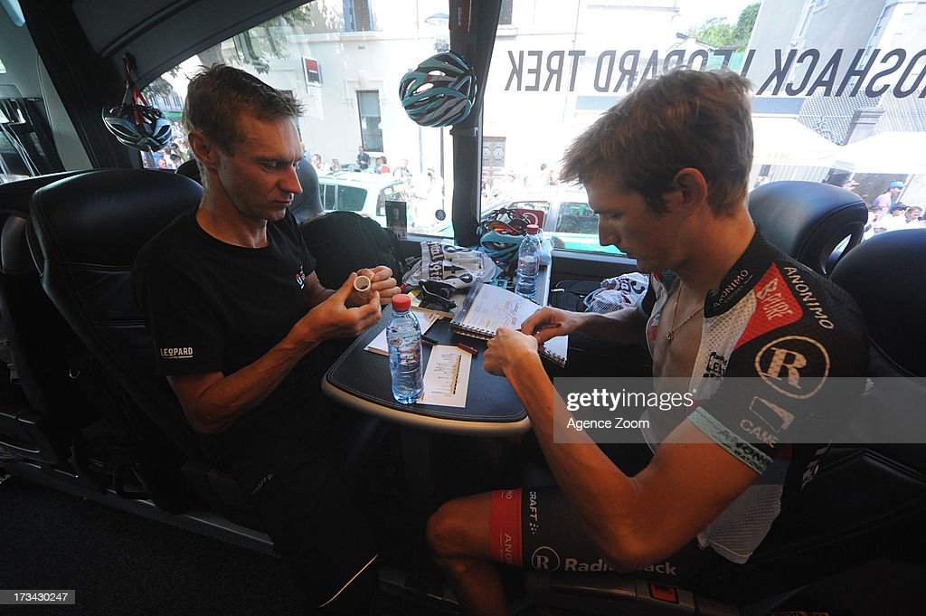 Andy Schleck, Jens Voigt of Team Radioshack Leopard during Stage 14 of the Tour de France on July 13, 2013 Saint-Pourcain-sur-Sioule to Lyon, France.