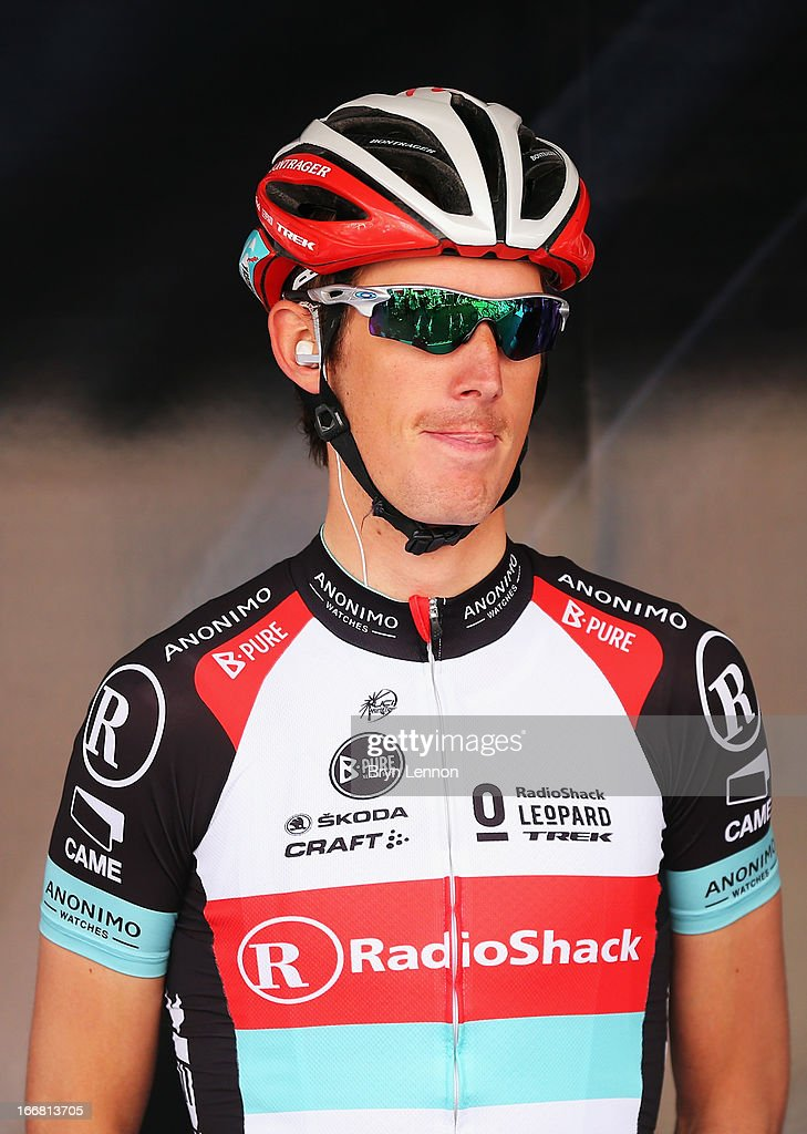 Andy Schleck of Luxembourg and Radioshack Leopard looks on at the start of the 77th edition of La Fleche Wallonne cycle race from Binche to Huy on April 17, 2013 in Binche, Belgium.