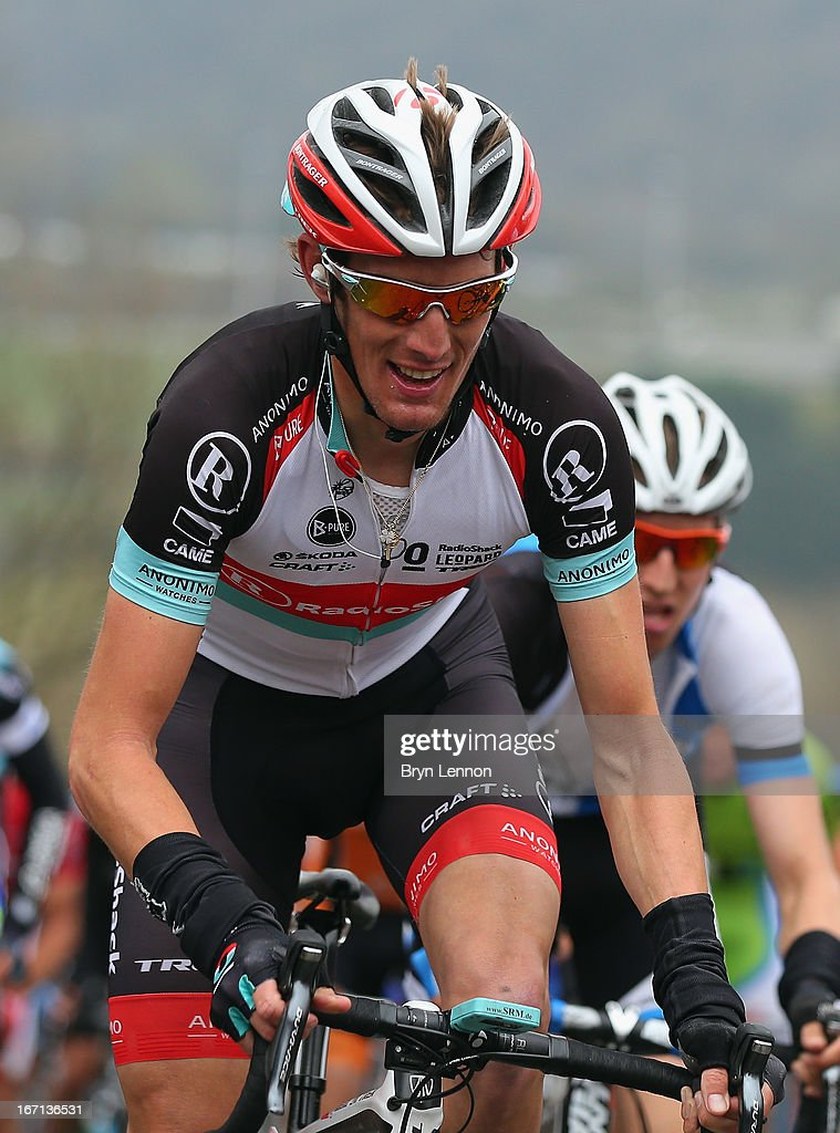 Andy Schleck of Luxembourg and Radioshack Leopard team climbs the Cote de La Redoute during the 99th Liege-Bastogne-Liege road race on April 21, 2013 in Liege, Belgium. (Photo by Bryn Lennon/Getty Images).