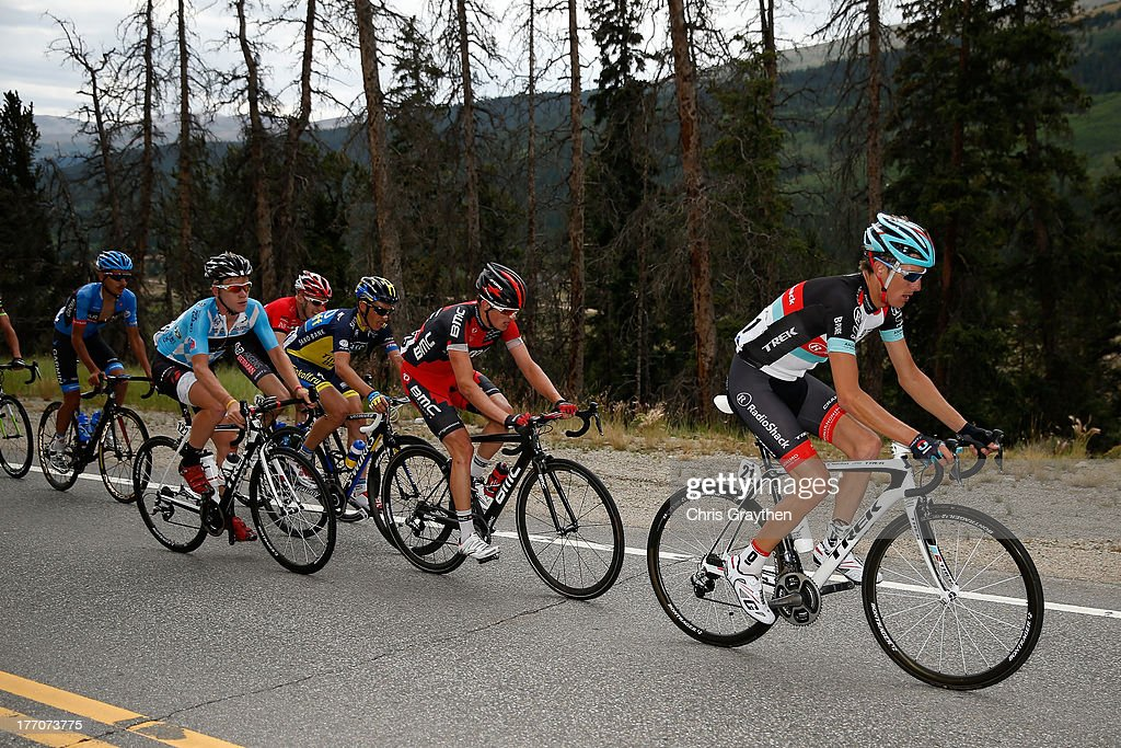 Andy Schleck of Luxembourg and RadioShack Leopard Trek (21) rides in a breakaway during stage two of the 2013 USA Pro Cycling Challenge on August 20, 2013 in Breckenridge, Colorado.