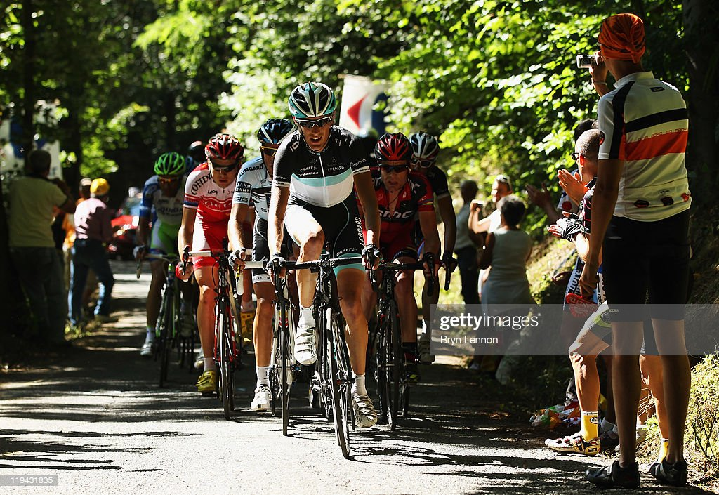 <a gi-track='captionPersonalityLinkClicked' href=/galleries/search?phrase=Andy+Schleck&family=editorial&specificpeople=768445 ng-click='$event.stopPropagation()'>Andy Schleck</a> of Luxembourg and Team Leopard-Trek leads a group of riders up the Cote de Pramantino during stage 17 of the 2011 Tour de France from Gap to Pinerolo on July 20, 2011 in Pinerolo, Italy.