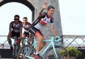 Andy Schleck of Luxembourg and Team Radioshack Leopard at the Team Presentation prior to the start of the Tour de France 2013 on June 27 2013 in...