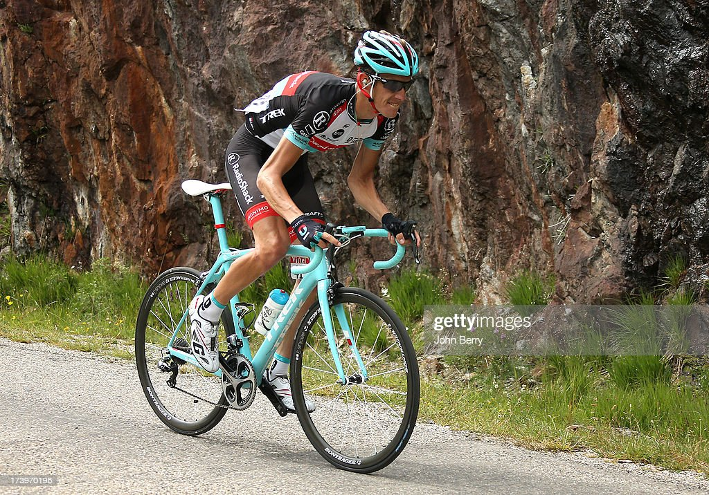 Andy Schleck of Luxembourg and Team Radioshack Leopard descends the Col de Sarenne during stage eighteen of the 2013 Tour de France, a 172.5KM road stage from Gap to l'Alpe d'Huez, on July 18, 2013 in Alpe d'Huez, France.