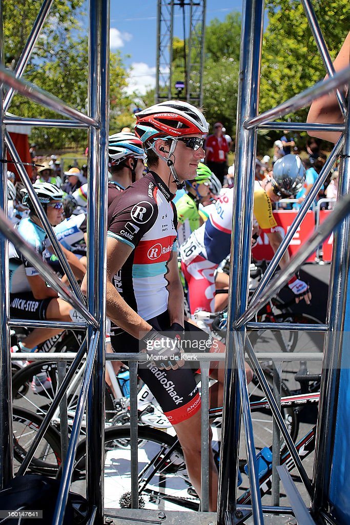 <a gi-track='captionPersonalityLinkClicked' href=/galleries/search?phrase=Andy+Schleck&family=editorial&specificpeople=768445 ng-click='$event.stopPropagation()'>Andy Schleck</a> of Luxembourg and team Radioshack Leopard gets ready to start stage six of the Tour Down Under on January 27, 2013 in Adelaide, Australia.