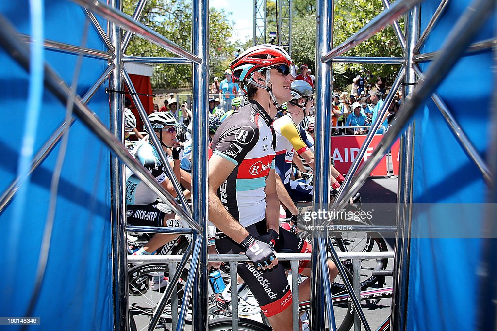 Andy Schleck of Luxembourg and team Radioshack Leopard gets ready to start stage six of the Tour Down Under on January 27, 2013 in Adelaide, Australia.