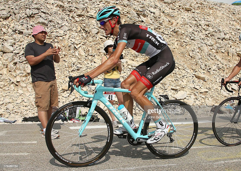 Andy Schleck of Luxembourg and Team Radioshack Leopard in action during stage fifteen of the 2013 Tour de France, a 242.5KM road stage from Givors to Mont Ventoux, on July 14, 2013 in Mont Ventoux, France.