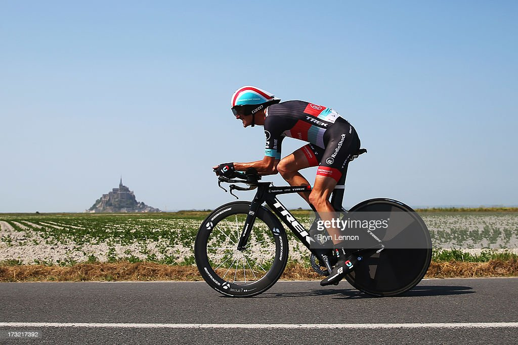 Andy Schleck of Luxembourg and Team Radioshack Leopard rides during stage eleven of the 2013 Tour de France, a 33KM Individual Time Trial from Avranches to Mont-Saint-Michel, on July 10, 2013 in Avranches, France.