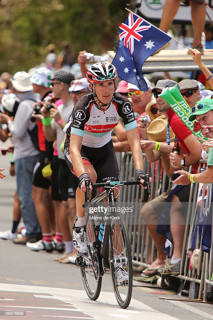 Andy Schleck of Luxembourg and team Radioshack Leopard rides up Willunga Hill during stage five of the 2013 Tour Down Under on January 26, 2013 in Adelaide, Australia.