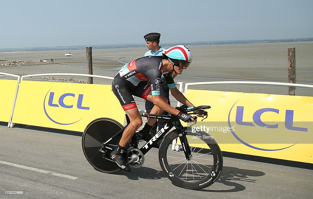 Andy Schleck of Luxembourg and Team Radioshack-Leopard in action during Stage Eleven of the Tour de France 2013 - the 100th Tour de France -, a 33 km individual time trial from Avranches to Le Mont-Saint-Michel on July 10, 2013 in Le Mont-Saint-Michel, France.