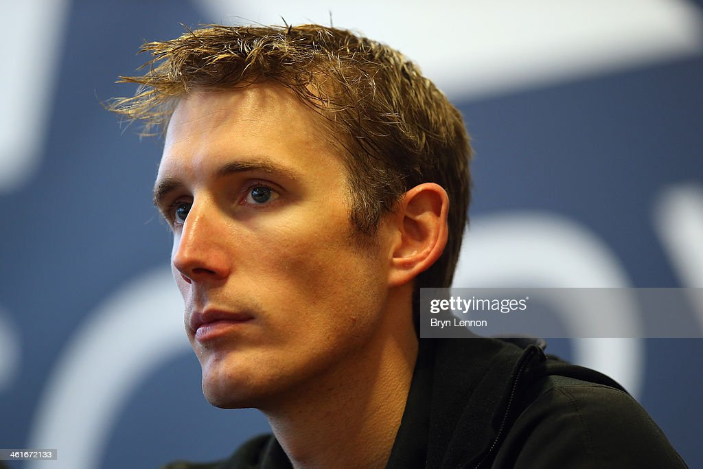 <a gi-track='captionPersonalityLinkClicked' href=/galleries/search?phrase=Andy+Schleck&family=editorial&specificpeople=768445 ng-click='$event.stopPropagation()'>Andy Schleck</a> of Luxembourg and the Trek Factory Racing team looks on during the Trek Factory Racing Team launch at the Stab Velodrome on January 10, 2014 in Roubaix, France.