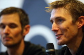 Andy Schleck of Luxembourg and the Trek Factory Racing team looks on during the Trek Factory Racing Team launch at the Stab Velodrome on January 10...