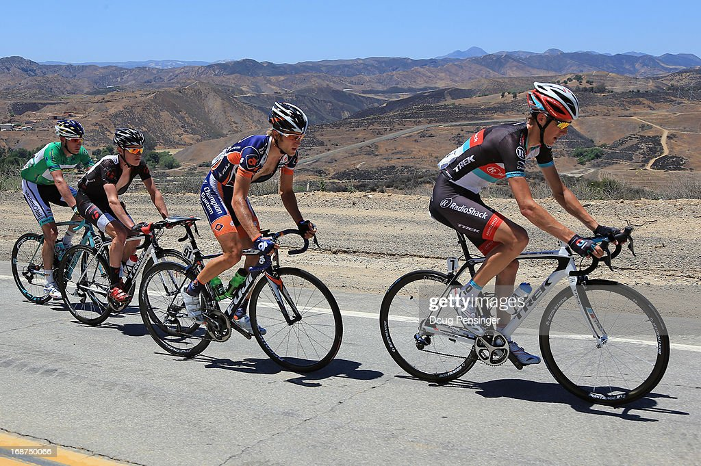 Andy Schleck of Luxembourg riding for Radioshack Leopard Trek leads the breakaway including Chad Beyer of the USA riding for Champion System, Gavin Mannion of the USA riding for Bontrager and Liewe Westra of the Netherlands riding for Vacansoleil-DCM during Stage Three of the 2013 Amgen Tour of California from Palmdale to Santa Clarita on May 14, 2013 in Santa Clarita, California. Westra defended the green points leader jersey.