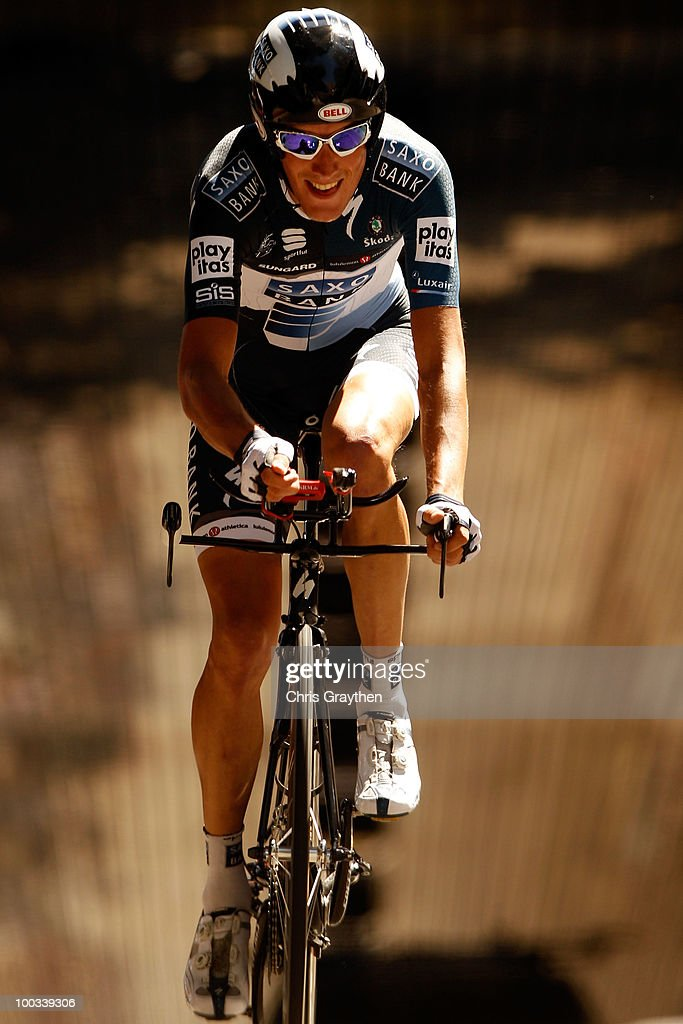 Andy Schleck of Luxembourg, riding for Saxo Bank rides on the course during the individual time trial in stage seven of the Tour of California on May 22, 2010 in Los Angeles, California.