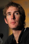 Andy Schleck of Luxemburg and riding for Saxo Bank addresses the media during a press conference prior to the 2010 Tour of California at the...