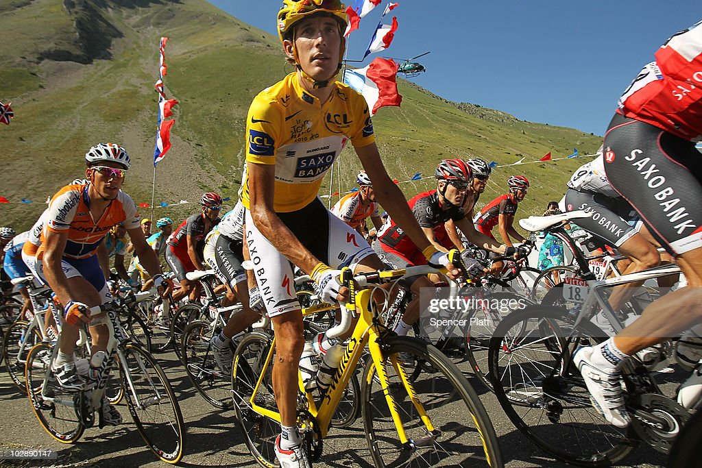 <a gi-track='captionPersonalityLinkClicked' href=/galleries/search?phrase=Andy+Schleck&family=editorial&specificpeople=768445 ng-click='$event.stopPropagation()'>Andy Schleck</a> of team Saxo Bank wears the yellow jersey while riding the 179km Stage 10 of the Tour de France on July 14, 2010 in Gap, France. The route from Chambery to Gap features a number of climbs including the category one Cote de Laffrey. Sergio Paulinho of Portugal and riding for team RadioShack won the stage while Luxembourg's Schleck continues to wear the yellow jersey with a slim lead of Alberto Contador of team Astana.