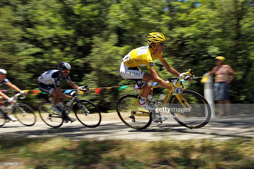 <a gi-track='captionPersonalityLinkClicked' href=/galleries/search?phrase=Andy+Schleck&family=editorial&specificpeople=768445 ng-click='$event.stopPropagation()'>Andy Schleck</a> wears the yellow jersey on Stage 14 of the Tour de France, the first stage to enter the Pyrenees, on July 18, 2010 in Ax 3 Domaines, France. The 184.5km course from Revel features some of the toughest climbs so far in the race including the Port de Pailhères, which at 15.5 kilometers with an average gradient of 7.9% and higher may reveal who is strongest in the peloton. Luxembourg's Schleck of team Saxo Bank continues to wear the yellow jersey, while Astana`s Alberto Contador of Spain is a close second. Christophe Riblon of France won the stage. The iconic bicycle race will include a total of 20 stages and will cover 3,642km before concluding in Paris on July 25.