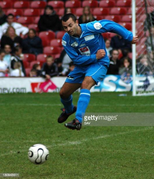 Andy Scott Lee gets a shot in during Celebrity World Cup Soccer Six Match at West Ham United Football Club in London Great Britain