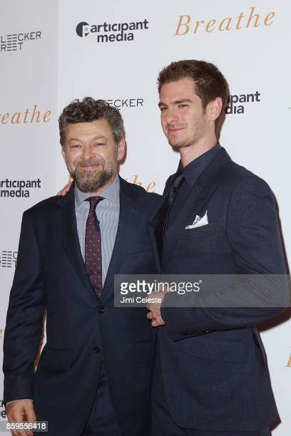 Andy Serkis and Andrew Garfield attend the New York screening of 'Breathe' at AMC Loews Lincoln Square 13 on October 9 2017 in New York City