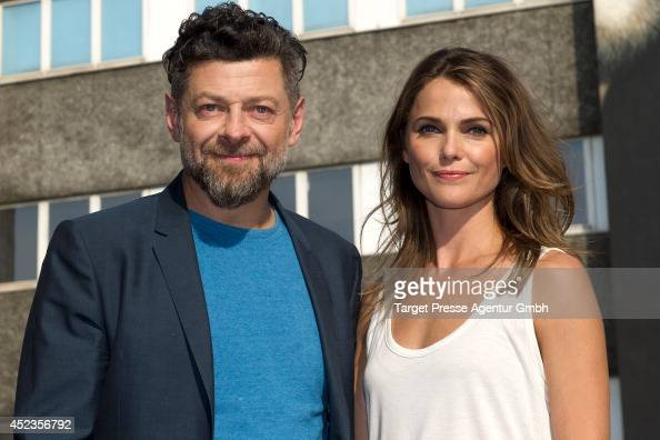 Andy Serkis and Keri Russell attend the photocall for the film 'Dawn of the Planet of the Apes' on July 18 2014 at Oberbaumbruecke in Berlin Germany
