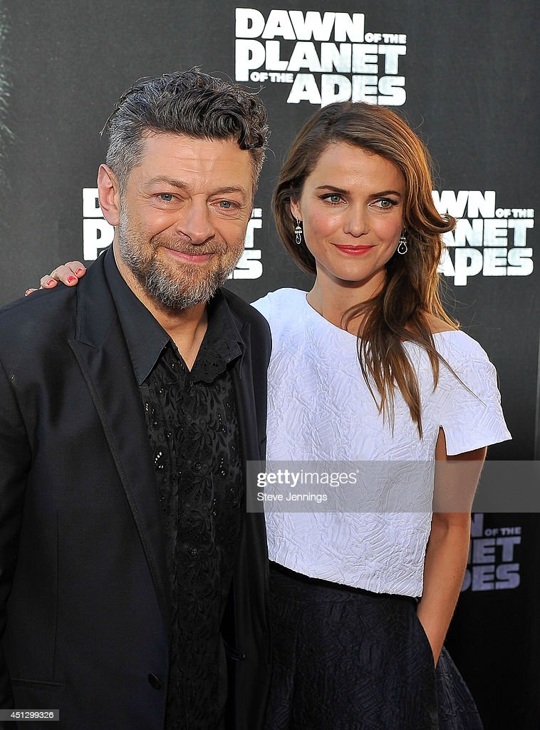 Andy Serkis and Keri Russell attend the premiere of 'Dawn of the Planet of the Apes' at Palace Of Fine Arts Theater on June 26 2014 in San Francisco...