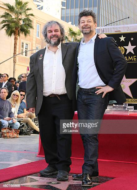 Andy Serkis and Peter Jackson attend the ceremony honoring Sir Peter Jackson with a Star on The Hollywood Walk of Fame on December 8 2014 in...