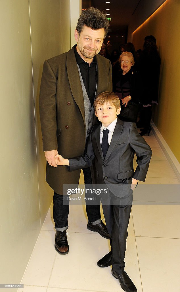 <a gi-track='captionPersonalityLinkClicked' href=/galleries/search?phrase=Andy+Serkis&family=editorial&specificpeople=210893 ng-click='$event.stopPropagation()'>Andy Serkis</a> (L) and son Louis attend the English National Ballet Christmas Party at St Martins Lane Hotel on December 13, 2012 in London, England.