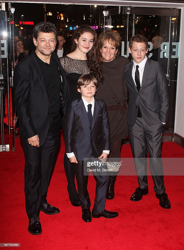 Andy Serkis (L) attends the UK Premiere of 'The Hunger Games: Catching Fire' at Odeon Leicester Square on November 11, 2013 in London, England.