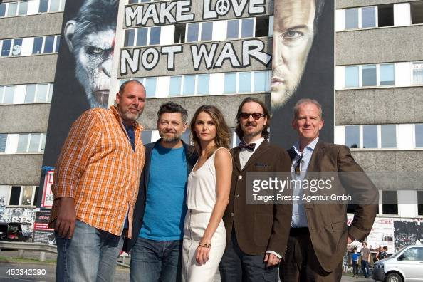 Andy Serkis Matt Reeves and Keri Russell and guests attend the photocall for the film 'Dawn of the Planet of the Apes' on July 18 2014 at...