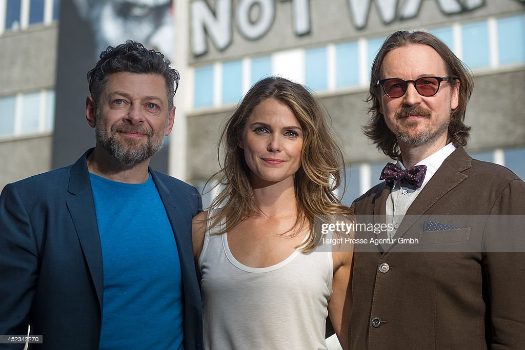 Andy Serkis Matt Reeves and Keri Russell attend the photocall for the film 'Dawn of the Planet of the Apes' on July 18 2014 at Oberbaumbruecke in...