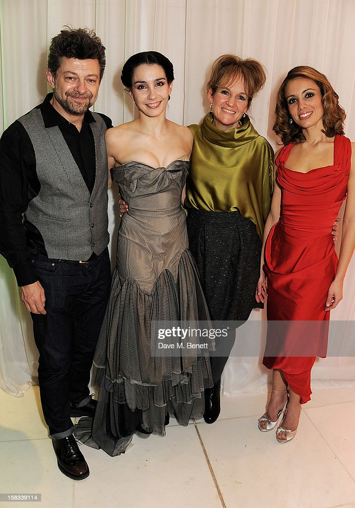 Andy Serkis, Tamara Rojo, Lorraine Ashbourne and Fernanda Oliveira attend the English National Ballet Christmas Party at St Martins Lane Hotel on December 13, 2012 in London, England.