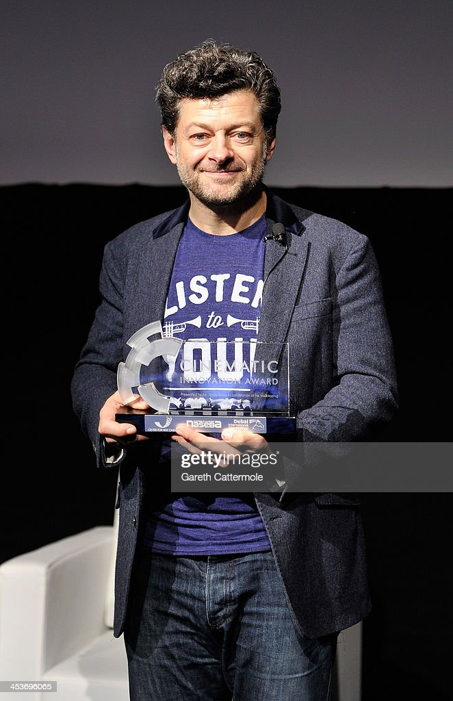 <a gi-track='captionPersonalityLinkClicked' href=/galleries/search?phrase=Andy+Serkis&family=editorial&specificpeople=210893 ng-click='$event.stopPropagation()'>Andy Serkis</a> with the 2013 Cinematic Innovation award during the Cinematic Innovation Summit ahead of the 10th Annual Dubai International Film Festival at Atlantis, The Palm Hotel on December 12, 2013 in Dubai, United Arab Emirates.