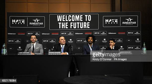 Andy Shepherd Richard Schaefer David Haye and Adam Morallee during a press conference to announce the launch of Haymaker Ringstar at the Park Plaza...