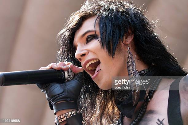 Andy 'Six' Biersack of Black Veil Brides performs onstage during the 2011 Vans Warped Tour at the Marcus Amphitheater on July 19 2011 in Milwaukee...