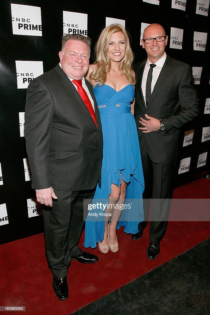 Andy Smith, Catherine Knebel and Curtis Dowling attend the CNBC Prime Premiere Launch at Classic Car Club on February 28, 2013 in New York City.