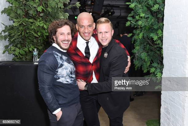 Andy Stewart John Gomes and Andrew Werner attend Eklund|Gomes 10 Year Anniversary Bash at The Garage in NYC on February 2 2017 in New York City