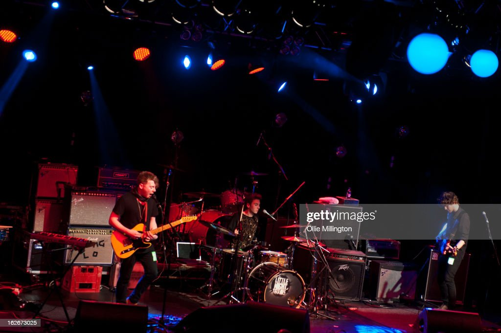 Andy Stone, James Stone and Dan Holyoak of Little Night Terrors perform onstage at o2 Academy on February 25, 2013 in Leicester, England.