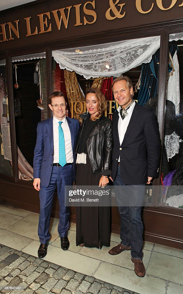 Andy Street, Managing Director of John Lewis, <a gi-track='captionPersonalityLinkClicked' href=/galleries/search?phrase=Alice+Temperley&family=editorial&specificpeople=213399 ng-click='$event.stopPropagation()'>Alice Temperley</a> and Ulrik Garde Due attend the preview party of John Lewis's 'Stories of a Shopkeeper' exhibition at the John Lewis Oxford Street Store on May 1, 2014 in London, England. The exhibition, which charts the department store's 150 year history, opens at John Lewis Oxford Street on Saturday 3rd May and runs for seven weeks.