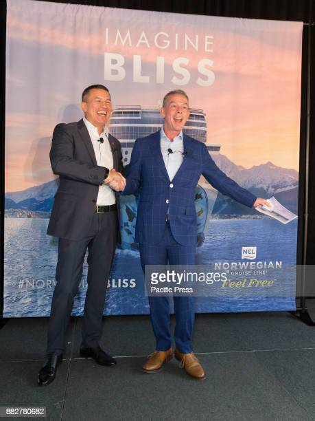 Andy Stuart and Godfather Elvis Duran speak during celebration of Norwegian Cruise Line newest ship Bliss at PND lounge The Dream Downtown