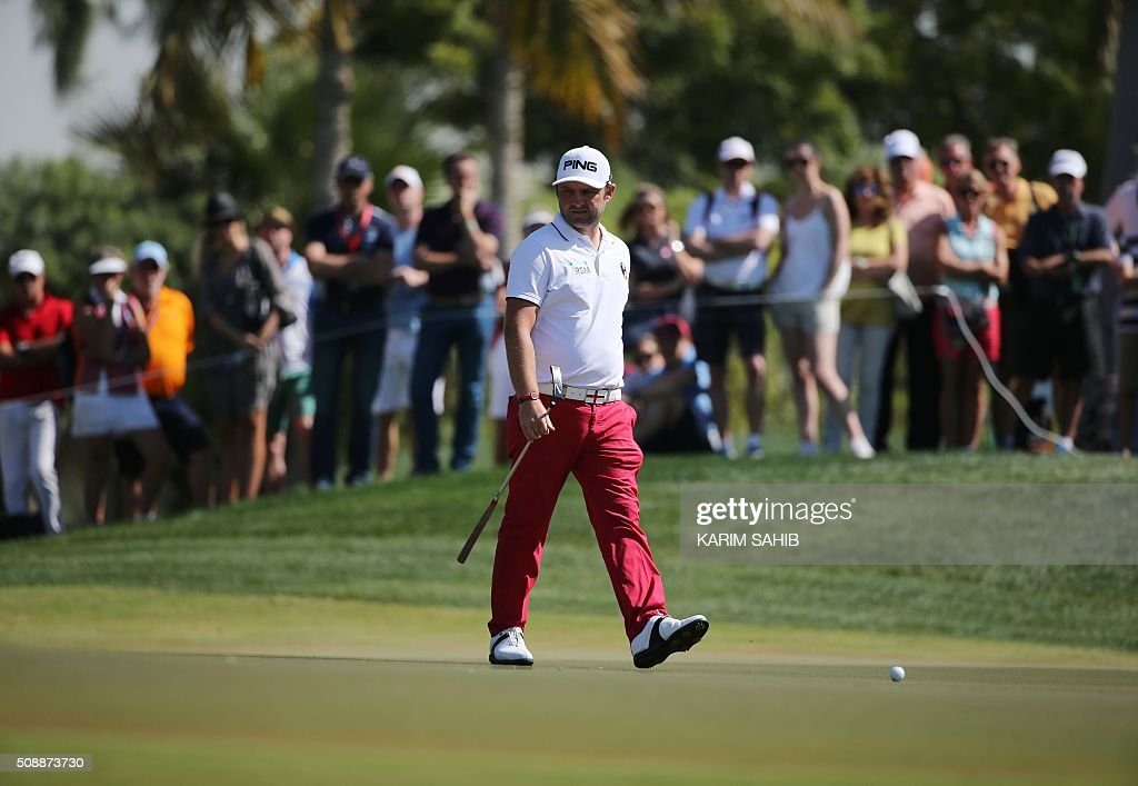 Andy Sullivan of England attends the final round of the 2016 Dubai Desert Classic at the Emirates Golf Club in Dubai on February 7, 2016. SAHIB