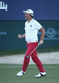 Andy Sullivan of England celebrates his birdie on the 18th green during the final round of the Omega Dubai Desert Classic at the Emirates Golf Club...